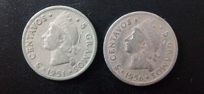 Lot 2 Dominican Republic 5 Cents Silver Coin Centavos 1951 1956 Dominicana XYZ31