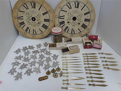 Lot of Clock Parts Faces, Dials, Gears, Back Plates Etc. *See Pictures*