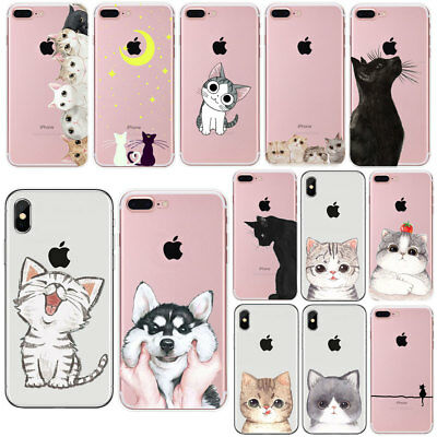 For Iphone 7 8 PLUS X 5 6 6S Cat Ultra Thin Soft Rubber Clear Phone Case Cover