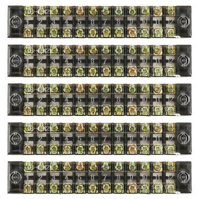 5 X Dual Row 12 Positions Screw Terminal Electric Barrier Strip Block 600V 15A