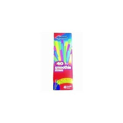 Diamond Neon Smoothie Straws, 40 Ct Assorted ( Pack of 2) New