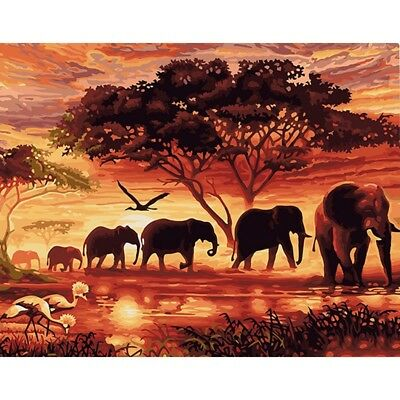 Animal Elephant Paintings DIY Paint By Numbers Kits Wall Art Frameless 40*50cm