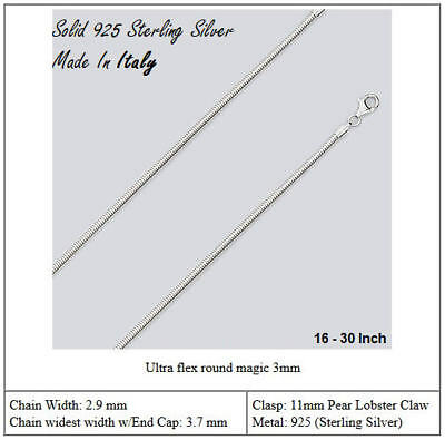 Solid 925 Sterling Silver Round Magic Snake Chain 3 MM Width Made In Italy