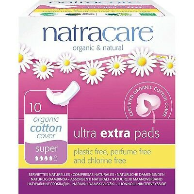 Natracare Ultra Extra Pads Super with Wings - 2 Packs of 10 Pads 2 Pack New