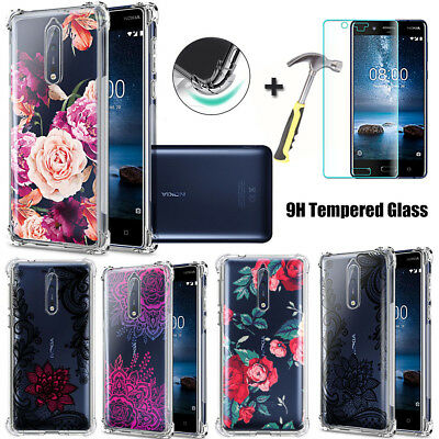 For Nokia 3 5 6 8 7 Plus Flower Case Shockproof Soft Clear TPU Silicone Cover