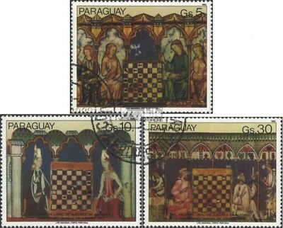 Paraguay 3518-3520 (complete issue) used 1982 chess paintings