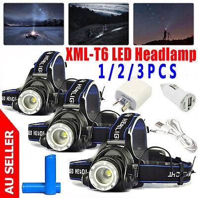 4X 80000LM T6 LED Headlamp Headlight Flashlight Head Torch Rechargeable CREE XML