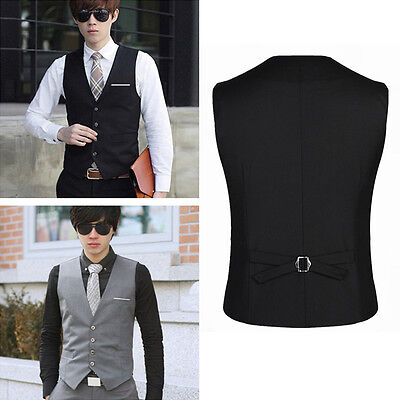Men's Formal Business Casual Dress Vest Suit Slim Fit Tuxedo Waistcoat Coat ss