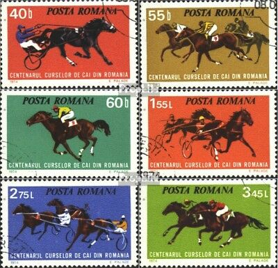 Romania 3182-3187 (complete.issue) used 1974 Horse Racing in Ro