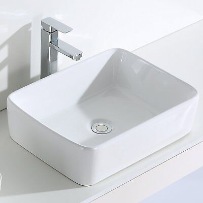 Bathroom Square Counter Top Wash Basin Cloakroom Sink Bowl,Gloss White,47*36.5cm