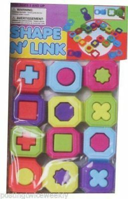 6x Shape N Link Puzzle Blocks Great Toys for the Bath Baby Bulk Wholesale Lot