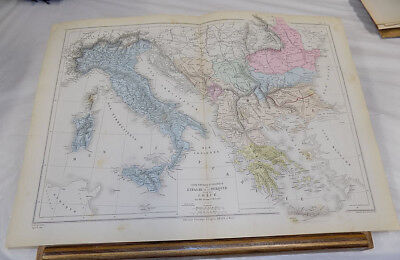 1881 Atlas Universal Map///ITALY, TURKEY, GREECE, Physical and Political