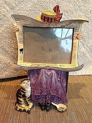 """3 D Photo/Picture Frame Cat Lady 9 1/2"""""""