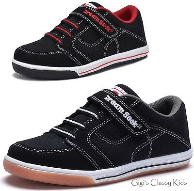 New Boys Black Canvas Tennis Shoes Athletic Sneakers Toddler Youth Kids Skater