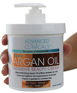 Advanced Clinicals Spa Size Argan Oil Cream for Dry Skin & Wrinkles - New 16oz