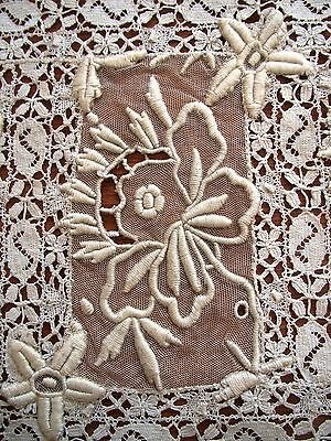 Antique Placemat Lace Doily Embroidered Whitework Vintage Table Tray Mat