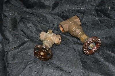 Vintage Steampunk Lamp Part Lot, Heavy Gauge Brass Pressure Gate Valves, Antique