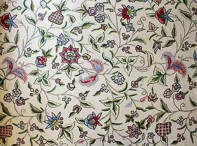 "VTG Hand Embroidered Floral Crewel Fabric - Wool on Cotton/Linen - 51"" x 1 Yard"