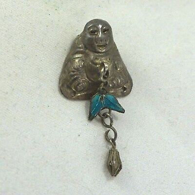 Vintage/Antique Silver Enamel Chinese Export Buddha Dangle Hat Ornament Charm