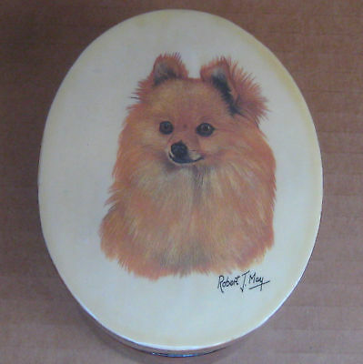 "Pomeranian Dog by Robert J May- Small Oval Lacquered Box Trinket Jewery 4""x3""x2"""