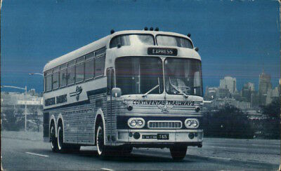 Continental Trailways Silver Eagle Luxury Bus c1950s Postcard