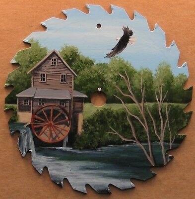 Hand Painted Saw Blade Eagle Flying Old Mill River Summer Cabin Lodge Decor