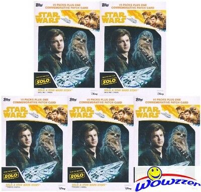 (5) 2018 Topps SOLO: A Star Wars Story Factory Sealed Blaster Box-5 PATCHES!