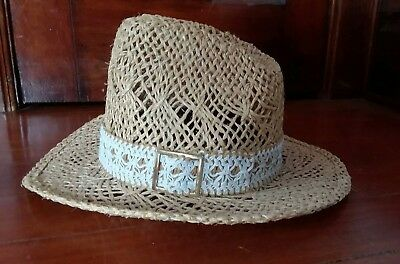 1214b46f Bailey U-Rollit Straw Cowboy Hat Size 7 New West with Lace Band Buckle  Womens