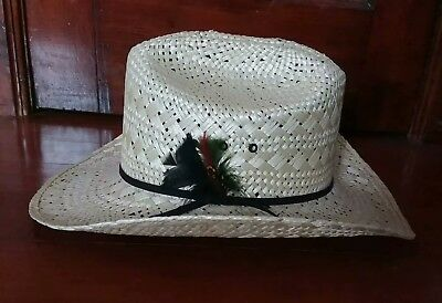 a23f911b3b3 RESISTOL NATURAL LOOK Straw Cowboy Hat Size 7 1 2 Mens Womens Summer ...