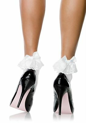 Leg Avenue Nylon Anklets With Ruffle And Satin Bow Ankle Socks One Size