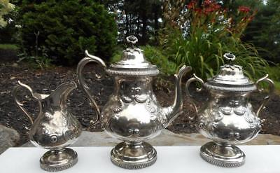 Antique Repousse Coin Sterling Silver Tea Set John Westervelt Newburgh, New York