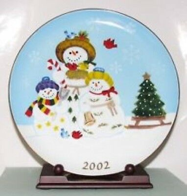"""Partylite """"Snowbell"""" Snowman Special Edition Collector Plate 2002 PRICE REDUCED!"""