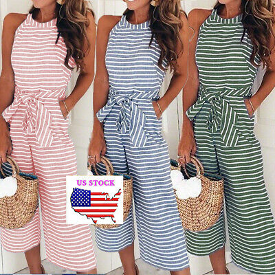 Womens Halter Striped Jumpsuit Summer Wide Leg Tie Waist Romper Overall Outfits