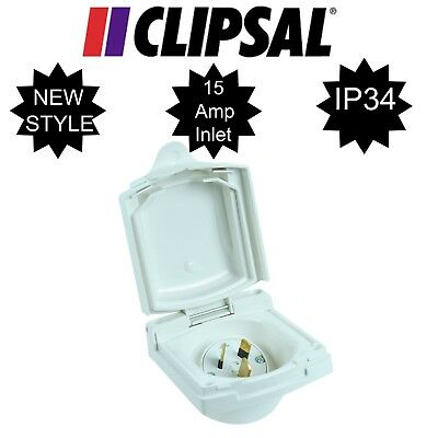 New Style Clipsal 15Amp 240V Power Inlet 435VFS15 for Caravan Camper Trailer 15A