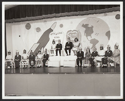 ALL BLACK BOYS & GIRL VALENTINE KING & QUEEN SCHOOL ASSEMBLY 1950s 8x10 PHOTO!