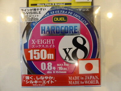 Duel  Hardcore X8 Micro pitch braid PE 0.8 (High Visible White)