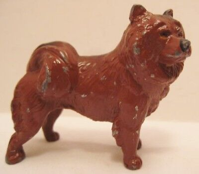 Old Lead Miniature Chow Dog Figure for Dollhouse Doll Pet or Christmas Putz