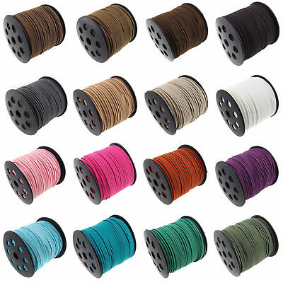 5/100Yards 3mm Korea Faux Suede Cord Flat Leather Cord Bracelet Necklace Rope