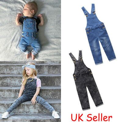 Toddler Kids Baby Girls Boys Denim Dungaree Jumpsuit Playsuit Outfits Clothes UK