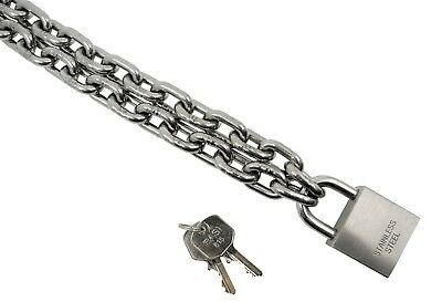 Kamero Stainless Steel Chain Lock, with Padlock V4A