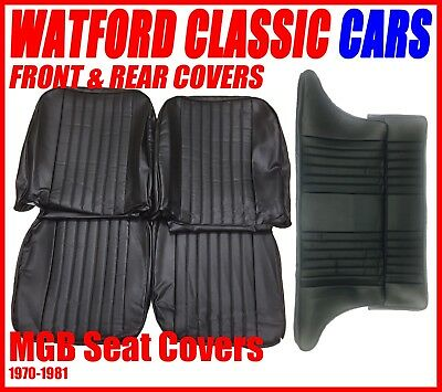 MGB GT Front and Rear Seat Covers 1972 -1981 Black with Black  Piping