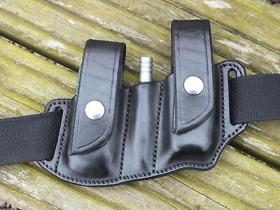 Leather Sheath to fit Leatherman wave Extension Bar and Two Bit Slides, Black
