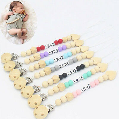 Baby Wooden Beaded Pacifier Holder Clip Nipple Teether Dummy Strap Chain Grand