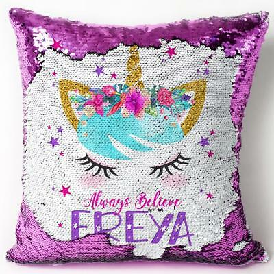 Unicorn Sequin Cushion Reveal Magic Cover Personalised Birthday Present KC55