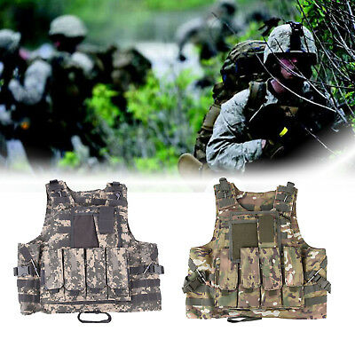 Camo Waistcoat Tactical Military Airsoft Molle Combat Assault Plate Carrier Vest