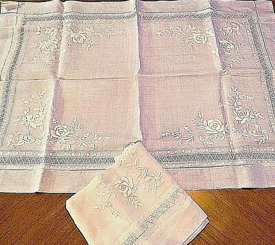 2 Antique Shams Pillowcases Pillow Cover Case Set Linen Embroidered Flower Cream