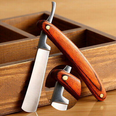 Vintage Folding Shaving Straight Stainless Steel Wood Handle Barber Razor New