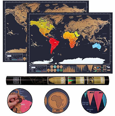 Scratch Off World Map Deluxe Edition Travel Log Journal Poster Wall Decor 2018UK