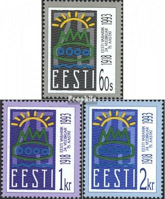 Estonia 200-202 (complete issue) unmounted mint / never hinged 1993 75 years Rep