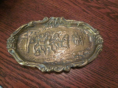 c.1920 Brass Card Receiver or Tray Picturing a Village Scene, art nouveau style